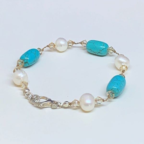 Freshwater pearl and turquoise howlite bracelet
