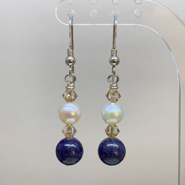 freshwater pearl lapis lazuli earrings