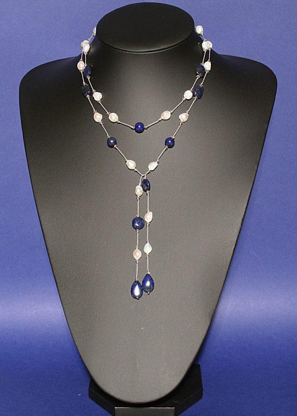 Freshwater pearl and lapis lazuli lariat