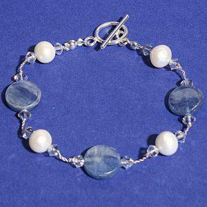 Freshwater pearl kyanite bracelet
