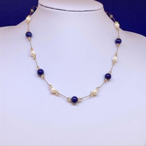 Freshwater pearl and lapis lazuli necklace