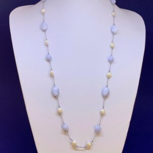 Freshwater pearl and blue lace agate necklace
