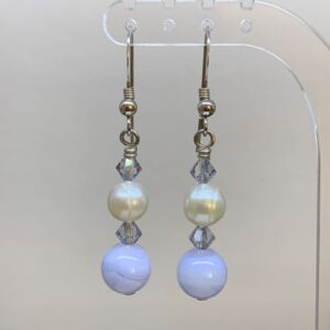 Freshwater pearl blue lace agate earrings