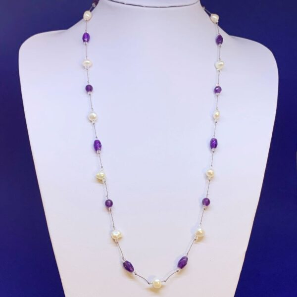 Freshwater pearl amethyst necklace