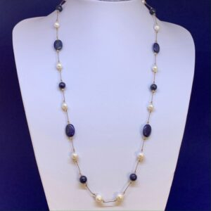 Freshwater pearl lapis lazuli necklace