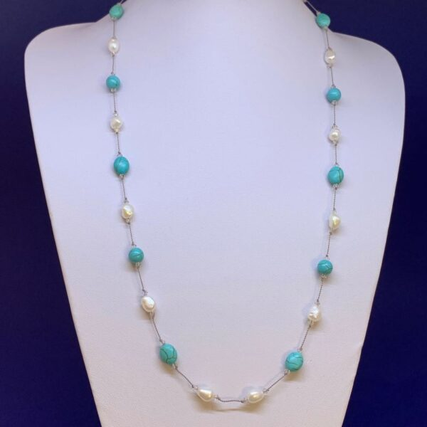 Freshwater pearl turquoise howlite necklace