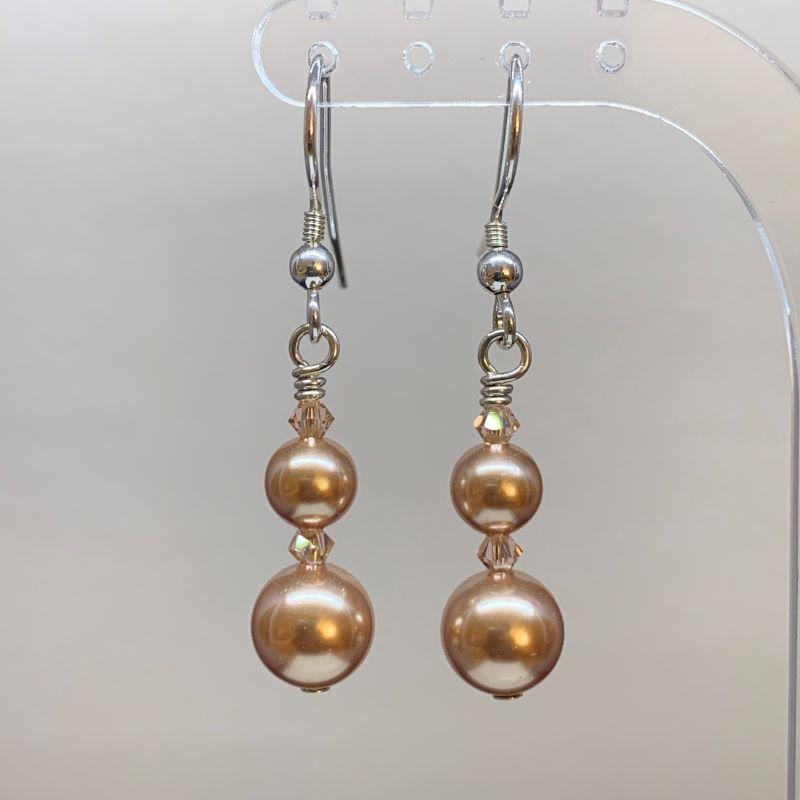 Swarovski Crystal Pearl Earrings Rose Gold Earrings Love Your Rocks