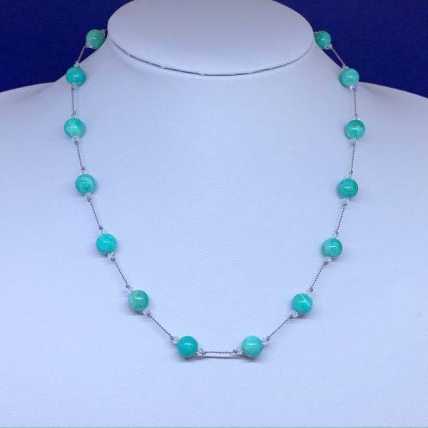 Amazonite and Swarovski crystal necklace