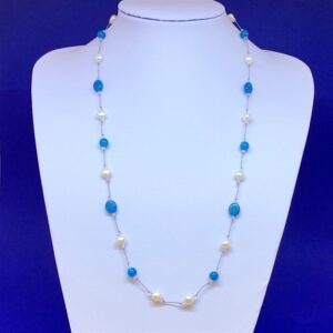 Freshwater pearl apatite necklace