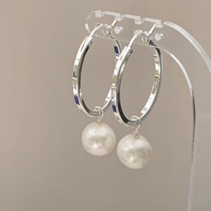 Large hoop freshwater pearl earrings