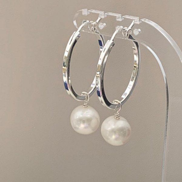 Large hoop freshwater pearl earrings
