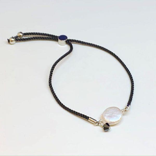 Freshwater coin pearl adjustable bracelet
