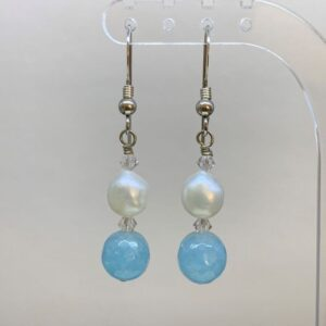 Freshwater pearl aquamarine earrings
