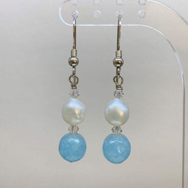 Freshwater pearl aquamarine earrings